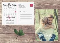 wedding photo - Calendar Save The Date Postcard, Postcard Save the Date, Photograph Save the Date, Save the Date Postcard with Photo, Unique Save the Date