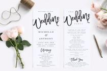 wedding photo - Wedding Program Template Modern Wedding Program Template Rustic Wedding Program Wedding Program Printable Wedding Ceremony Template