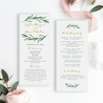 wedding photo - Greenery Wedding Program Template, Printable Wedding Program Template, Editable Wedding Program Template, EDIT in MS WORD, Sophia