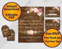 wedding photo - Wedding invitation Instant Download Watercolor Rustic wood free thank you free favor tags free back X002w6