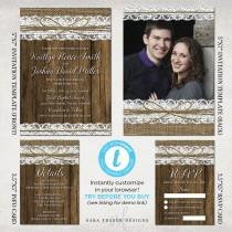 wedding photo - Rustic Wedding Invitation Suite Set - Burlap, Lace, Wood, Western, Country - Photo Template Templett - 5x7, 3.5x5 - Instant Download