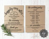 wedding photo - Wedding Program PDF card template, instant download editable printable, Ceremony order card in typography rustic theme (TED410_12)