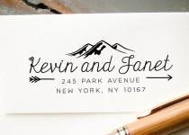 wedding photo - Self-Inking Stamp, Custom Address Stamp, Mountains and Arrows Custom Stamp, Personalized Stamp, Return Address Stamp: Housewarming, Wedding
