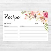 wedding photo - Recipe Cards, Bridal Shower, Boho Recipe Card, Watercolor, Floral, Printable, Instant Download, Recipe Card