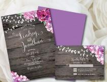 wedding photo - Purple Wedding Invitation, Rustic Wedding Invitation, Printable Wedding Invitation, Purple, Wedding, Invitation, Printable, DIY, Floral