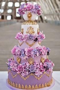 wedding photo - Purple Floral Cake