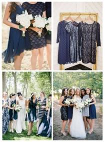 wedding photo - Mismatched Bridesmaid Dresses In Navy Blue