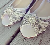 wedding photo - Wedding Shoes - Art Deco Inspired Peep Toe Wedge - Lace, Crystal and Pearls - Ivory/White/Custom Colors