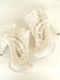 wedding photo - CHRISTMAS SALE! Wedding Shoes - Something Blue Bridal Shoes- Embroidered Ivory Lace Booties with Rhinestones