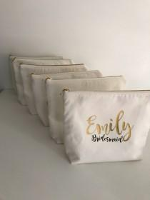 wedding photo - Personalized Cosmetic Bag , Bridesmaid Cosmetic Pouch , Cosmetic Bag , Bridesmaid Gift , MakeUp Bag , Custom Name Pouch