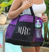 wedding photo - Monogram Bag, Heavy tote bag zippered main compartment, Heavy canvas,Bachelorette Party, Carryall, Personalized Monogram Bag