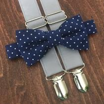wedding photo - Navy & Gray Bow Tie and Suspender Set for men, boys, toddlers, and babies. Sent 1-3 business days after you order