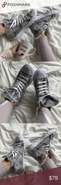 wedding photo - NWT Custom Marble Converse High Top