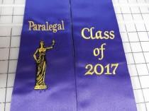 wedding photo - Graduation Pointed  stoles / Paralegal with Lady Justice Logo / Class of 201X /Design your Graduation stoles