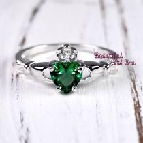 wedding photo - Womens Silver Emerald CZ Claddagh Promise Ring Wedding Band Irish Celtic Claddagh Band May Birthstone Ring Celtic Claddagh Friendship Ring