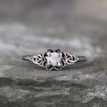 wedding photo - Celtic Knot Engagement Ring - Raw Rough Uncut Diamond Rings - Sterling Silver - Rustic - Made in Canada