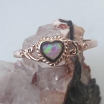 wedding photo - Rose Gold Opal Heart Ring FAST Shipping FREE Gift Box Alternative Bride Opal Engagement Ring Promise Ring Friendship Anniversary Jewelry