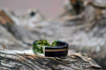 wedding photo - Mens resin band set Mens wedding bands Resin ring set Real moss rings Green black rings Eco-Friendly Rings Gift for him Rustic bands