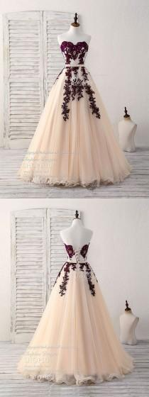 wedding photo - Burgundy Sweetheart Tulle Long Prom Dress, Burgundy Evening Dress