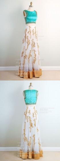 wedding photo - Unique Two Pieces Beads Long Prom Dress Applique Evening Dress