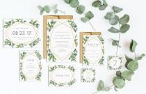 wedding photo - Eucalyptus Gold Geometric Wedding Invitation Suite -Printable Wedding Invitation Suite, DIY Wedding Invitation, Geometric Invite Gold Invite
