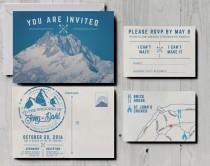 wedding photo - Retro Snowy Mountain Wedding Invitations, skiing wedding invitations, postcard wedding invites, alpine wedding, Alps wedding, ski resort