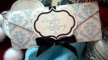 wedding photo - Something Blue Damask Wedding Invitation with Hand Cut Frame Monogram - SAMPLE