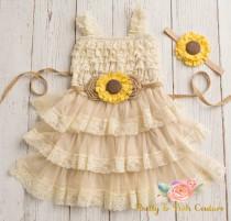 wedding photo - lace flower girl dress-rustic flower girl dress- lace girls dress- lace baby dress- Burlap wedding dress- country flower girl- girls dress