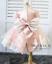 wedding photo - baby pink Toddler Easter Dress in Lace, Baby Girl Dress, Infant Pageant Dress LG013