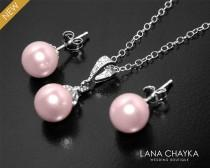 wedding photo - Pink Pearl Earrings&Necklace Set Blush Pink Pearl STERLING SILVER Set Swarovski 8mm Rosaline Pearl Set Bridal Bridesmaids Pearl Jewelry Set - $33.50 USD