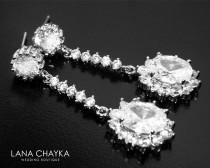 wedding photo - Cubic Zirconia Bridal Earrings Crystal Silver Wedding Earrings CZ Chandelier Sparkly Earrings Bridal Vintage Style Earrings Prom Earrings - $29.00 USD