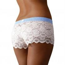 wedding photo - Ivory Lace Boxers with Light Blue Dot FOXERS Band