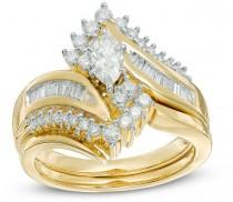 wedding photo - 1 CT. T.W. Marquise Diamond Bypass Bridal Set in 14K Gold