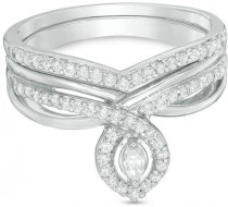 wedding photo - 1/3 CT. T.W. Marquise Diamond Frame Twist Shank Bridal Set in Sterling Silver