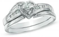 wedding photo - 1/5 CT. T.W. Diamond Heart Bridal Set in 10K White Gold