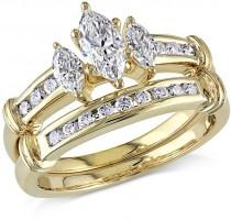 wedding photo - 1 CT. T.W. Marquise Diamond Three Stone Bridal Set in 14K Gold