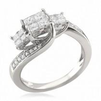 wedding photo - 3/4 CT. T.W. Quad Princess-Cut Diamond Three Stone Engagement Ring in 14K White Gold