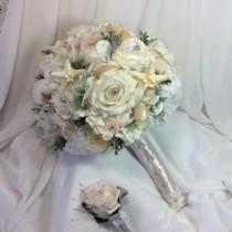 wedding photo - Beach Wedding Beach Flower Wedding Bouquet-Seashell Wedding-Beach Bridal Flowers-Beach Bride-Seashells and Flowers-Blush Beach Wedding