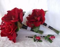 wedding photo - Bridal bouquet 4 piece set red roses red magnolias wedding bouquet