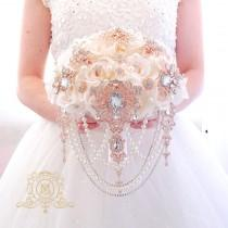 wedding photo - Luxury silk flowers touch of pink, rose gold brooch bouquet. Lush gold jeweled crystal Pearl cascading bouquet by Memory Wedding