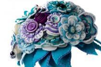 wedding photo - Wedding Felt Button Bouquet / Wedding Flowers / Bridal Bouquet / Bridesmaid Bouquet / Flower Girl Bouquet / Floral Gift