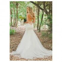 wedding photo - Alluring Tulle & Satin Spaghetti Straps Neckline Mermaid Wedding Dresses with Lace Appliques - overpinks.com