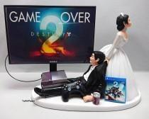 wedding photo - Wedding Cake Topper  Funny DEST2 Game Over Xbox One/PS4 Custom