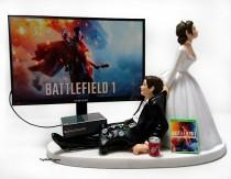 wedding photo - Wedding Cake Topper  Funny BF1 Gamer Xbox One/PS4 Custom