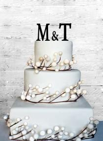 wedding photo - Personalized Custom Wedding Initials Cake Topper Monogram cake topper Personalized Cake topper Acrylic Cake Topper