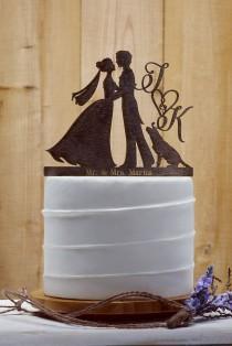 wedding photo - Customized Wedding Cake Topper With Dog, Personalized Cake Topper for Wedding, Custom Personalized Wedding Cake Topper, Couple Cake Topper16