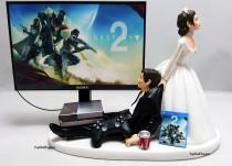 wedding photo - Wedding Cake Topper  Funny DEST 2 Gamer Xbox One/PS4 Custom