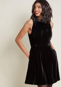 wedding photo - Sleeveless Velvet Dress With Embellished Neckline