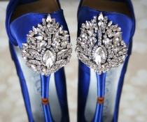 wedding photo - Wedding Shoes, Blue Wedding Shoes, Something Blue, Jeweled Heel Shoes, Blue Bridal Accessories, Bling Wedding Shoes, Crystal Wedding Shoes