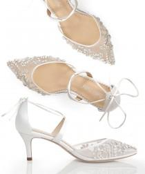 wedding photo - Low Heel Comfortable crystal embellished and beaded wedding shoes heels with ankle straps Bella Belle Frances